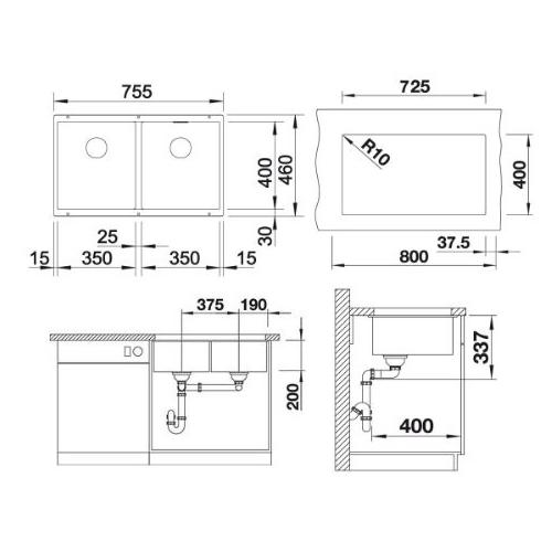 سینک توکار مدل SUBLINE 350/350-U بلانکو | آشپزخانه پارسه