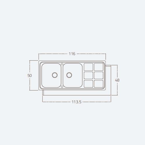 سینک توکار مدل CUADRO 2B STEEL زیگما | آشپزخانه پارسه