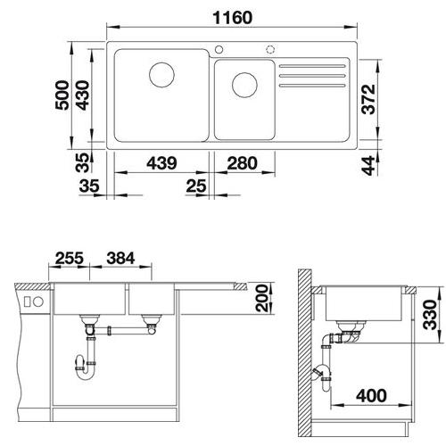 سینک توکار مدل NAYA 8S بلانکو | آشپزخانه پارسه