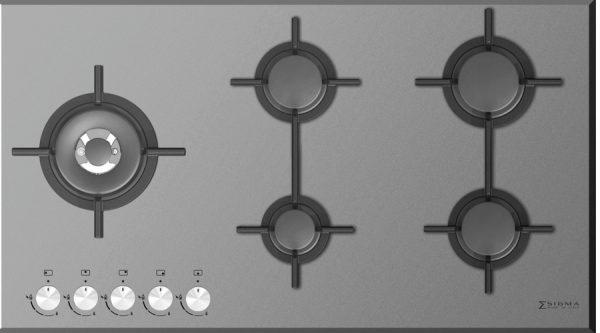گاز رومیزی CRISTALLO 5G SIDE 92 GLASS WHITE زیگما | آشپزخانه پارسه