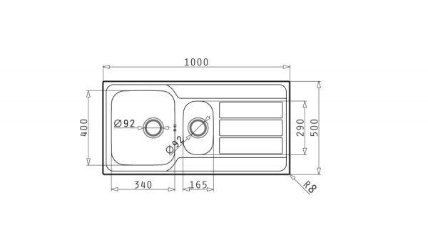 سینک ظرفشویی توکار مدل ATHENA EXTRA 1-2B 1D پیرامیس| آشپزخانه پارسه