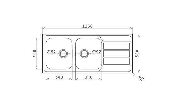 سینک ظرفشویی توکار مدل ALEA 2B 1D پیرامیس| آشپزخانه پارسه