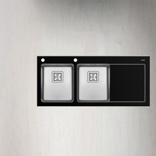 سینک ظرفشویی توکار مدل CRYSTALON 2B 1D BLACK پیرامیس| آشپزخانه پارسه
