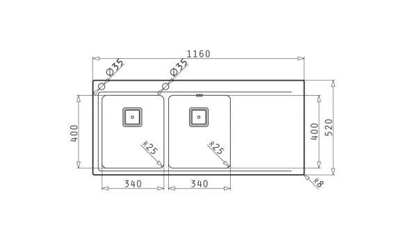 سینک ظرفشویی توکار مدل OLYNTHOS 2B 1D پیرامیس| آشپزخانه پارسه