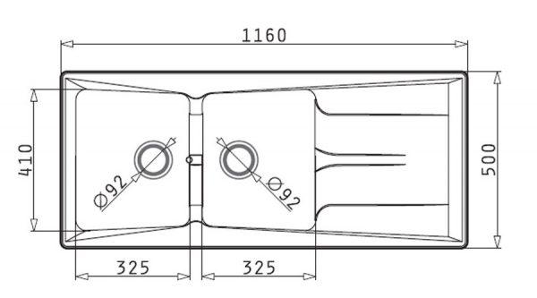 سینک ظرفشویی توکار مدل PETRA 2B 1D پیرامیس| آشپزخانه پارسه