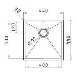 سینک زیر کورینی مدل 40 TETRAGON پیرامیس| آشپزخانه پارسه