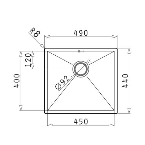 سینک زیر کورینی مدل 45 TETRAGON پیرامیس| آشپزخانه پارسه