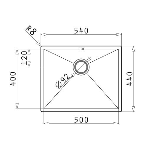سینک زیر کورینی مدل 50 TETRAGON پیرامیس| آشپزخانه پارسه