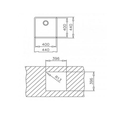 سینک توکار مدل Linea 40/40 تکا | آشپزخانه پارسه