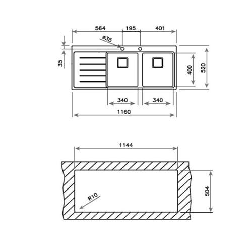 سینک توکار مدل Zenit R15 2B1D تکا | آشپزخانه پارسه